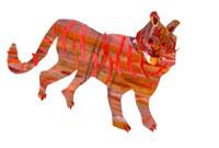 イラストコラージュ 赤茶のトラ