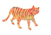 イラストコラージュ ベージュに赤縞のトラ