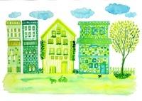 緑の町並み