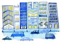 青いビルの街並み