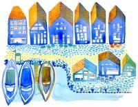 青い町並みとボート