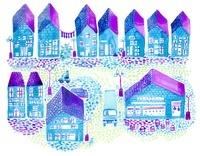 青いレンガの町並み