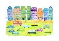 カラフルな街を行き交う車