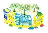 街角の建物と街路樹と車