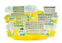 マンションのある街のイラスト