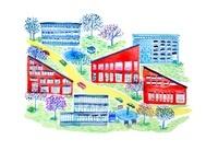 赤と青のマンションのある街のイラスト