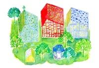 緑の庭のある3軒のお家