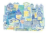 ブルーのビルが並ぶ街