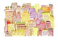 赤や黄色のビルが並ぶ街