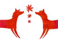 赤いウマ2頭