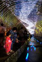 京の七夕 天の川といのり星を見る浴衣姿の親子