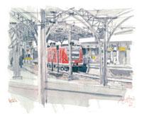 ケルン駅と赤い列車