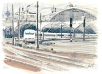 ケルン駅を出発するICE 02398000102| 写真素材・ストックフォト・画像・イラスト素材|アマナイメージズ
