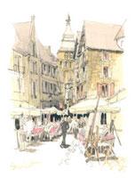 カフェが並ぶ広場