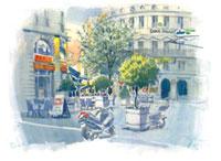 夕暮れのガンベッタ広場