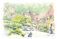 ラ・ロックガジャックの城と住宅