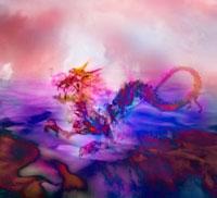 サイケデリックな色調の雲海をゆくドラゴン