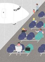 飛行機と空港の出発ロビーで待つ人々
