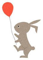 風船を持つウサギ