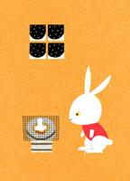 焼けるもちを見るウサギ 02403000035| 写真素材・ストックフォト・画像・イラスト素材|アマナイメージズ
