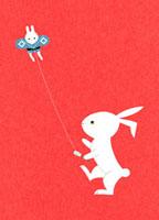 凧揚げをするウサギ