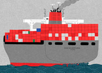 海を航行するコンテナ船