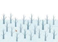 雪原を歩く一頭の鹿