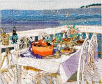 海辺のテーブルと料理