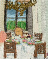 シャンデリアと食事を並べたテーブル