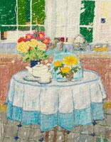 ティーポットとお花を飾ったテーブル 02404000049| 写真素材・ストックフォト・画像・イラスト素材|アマナイメージズ