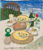 海辺のテーブルと食事