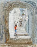 イタリア東南部の石灰の壁
