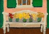 長椅子の花