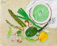 野菜スープと置かれた野菜