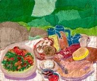 サラダパーティーのテーブル