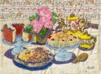 デザートのテーブルと花