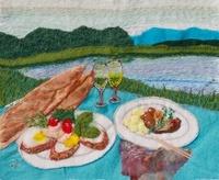 湖畔の食事