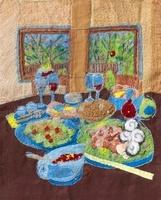 パーティーの料理のあるテーブル