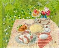白つめ草とサンドイッチの食事