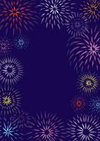 紺地の花火のフレーム