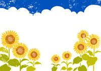 夏の入道雲と青空と向日葵