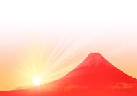 初日の出と赤富士