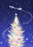 色々な色に光る白いクリスマスツリーとソリに乗るサンタクロース 02411000019| 写真素材・ストックフォト・画像・イラスト素材|アマナイメージズ