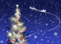 色々な色に光るクリスマスツリーとソリに乗ったサンタクロース 02411000027| 写真素材・ストックフォト・画像・イラスト素材|アマナイメージズ