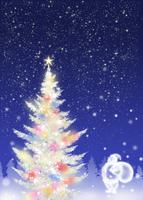 色々な色に光る白いクリスマスツリーとサンタクロース