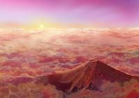 雲海と赤富士 02411000044| 写真素材・ストックフォト・画像・イラスト素材|アマナイメージズ
