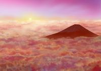 雲海と赤富士 02411000045| 写真素材・ストックフォト・画像・イラスト素材|アマナイメージズ