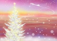 輝くクリスマスツリーとサンタクロース 02411000060| 写真素材・ストックフォト・画像・イラスト素材|アマナイメージズ