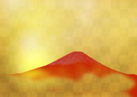 金箔に赤富士 02411000068| 写真素材・ストックフォト・画像・イラスト素材|アマナイメージズ