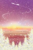地平線とクリスマスツリーとサンタクロース